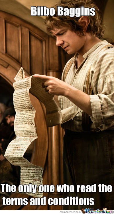 Bilbo reading Terms and Conditions