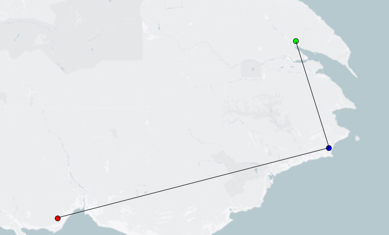 Map showing the same address being geocoded at 3 different locations