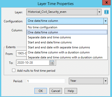 Layer time properties of Mapinfo Pro v2021