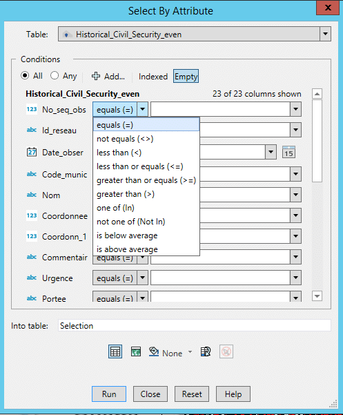 Select by attribute feature of Mapinfo Pro v2021