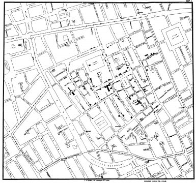 John Snow cholera map in the London epidemic of 1854